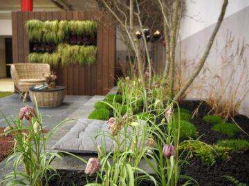 Michael: Den als Dachgarten inszenierten Meistergarten schmückt eine grüne Wand.